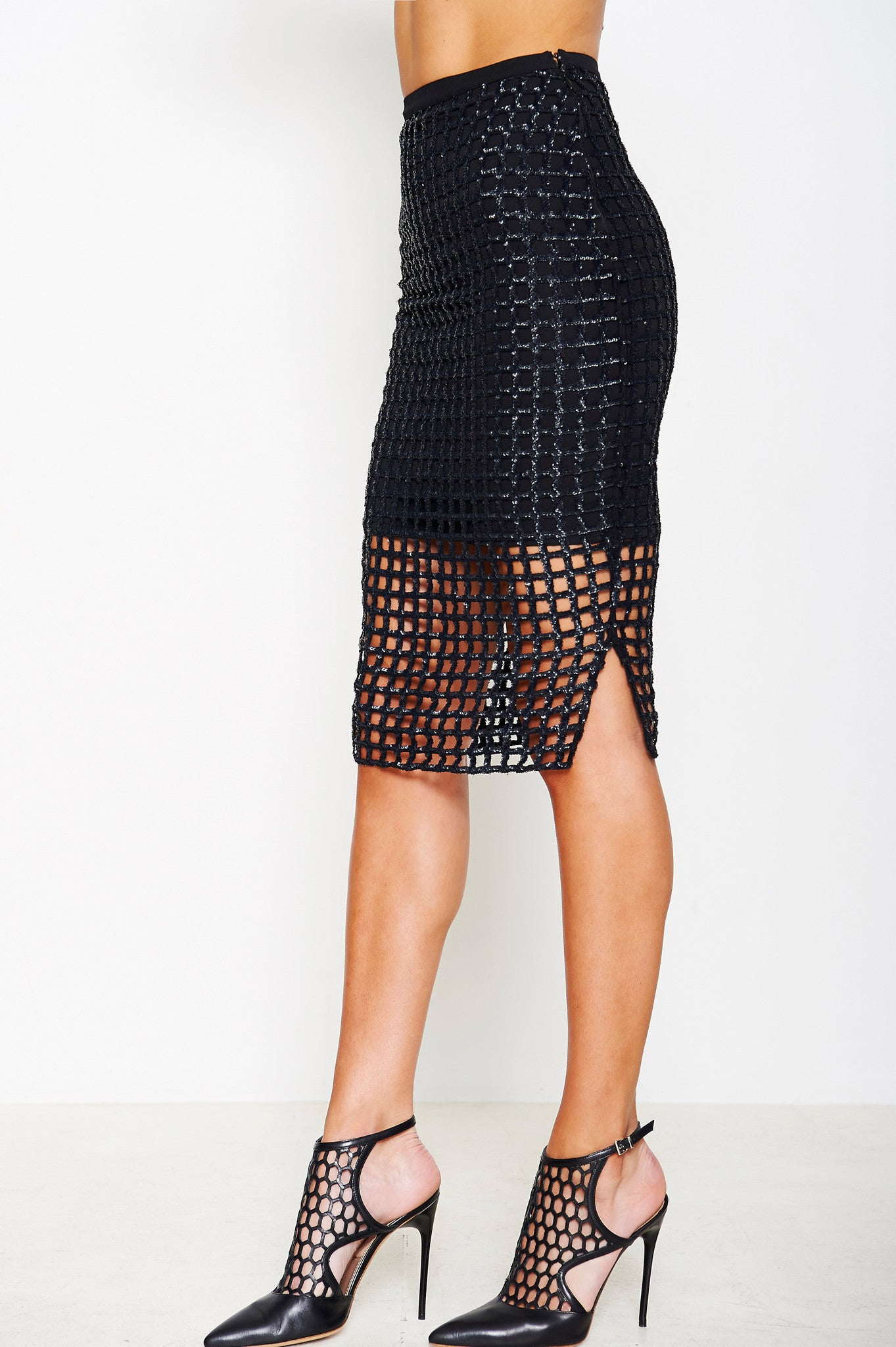 CAGE SEQUIN SKIRT