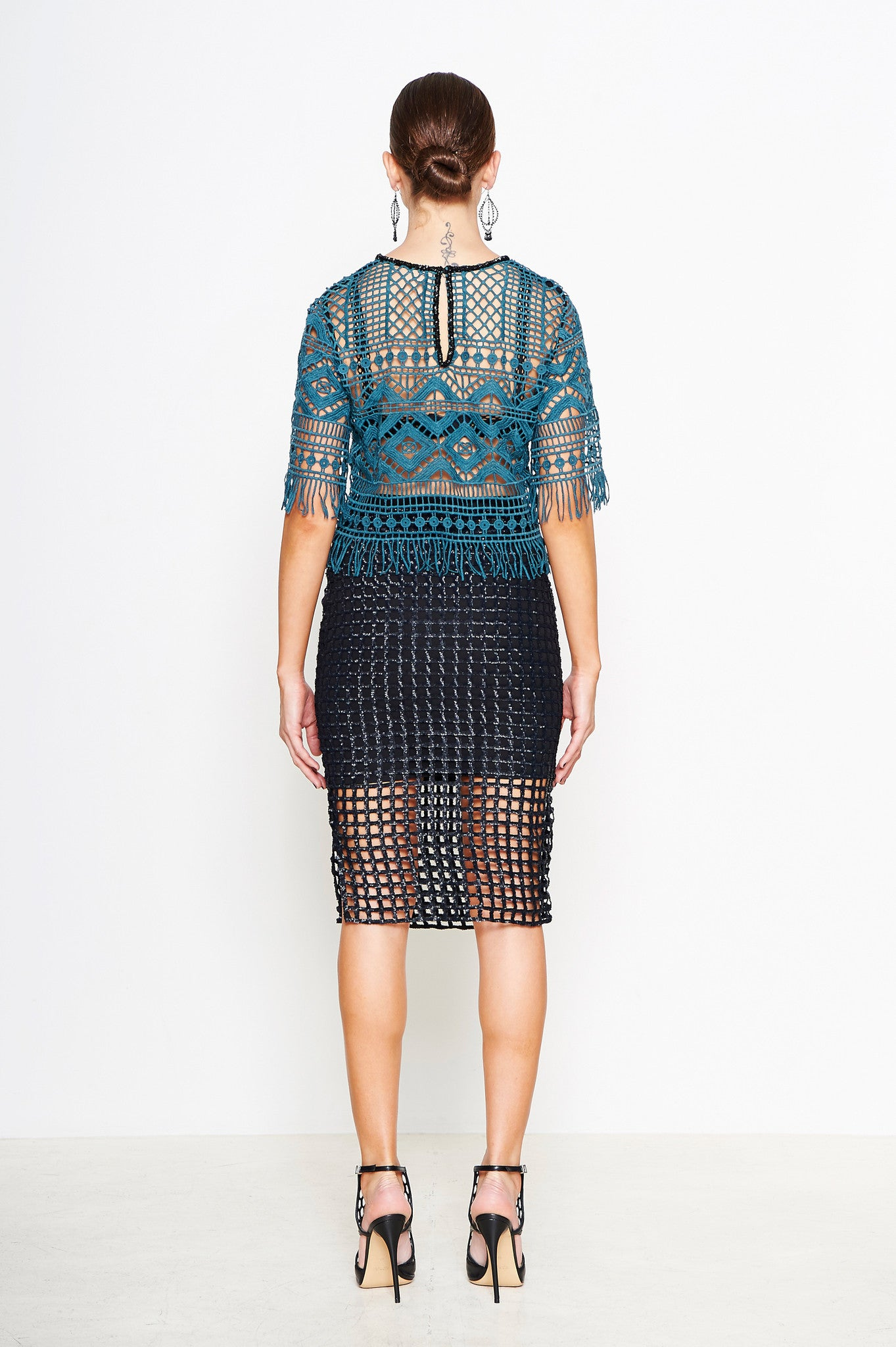 MOSAIC EMBROIDERED BEADED TOP
