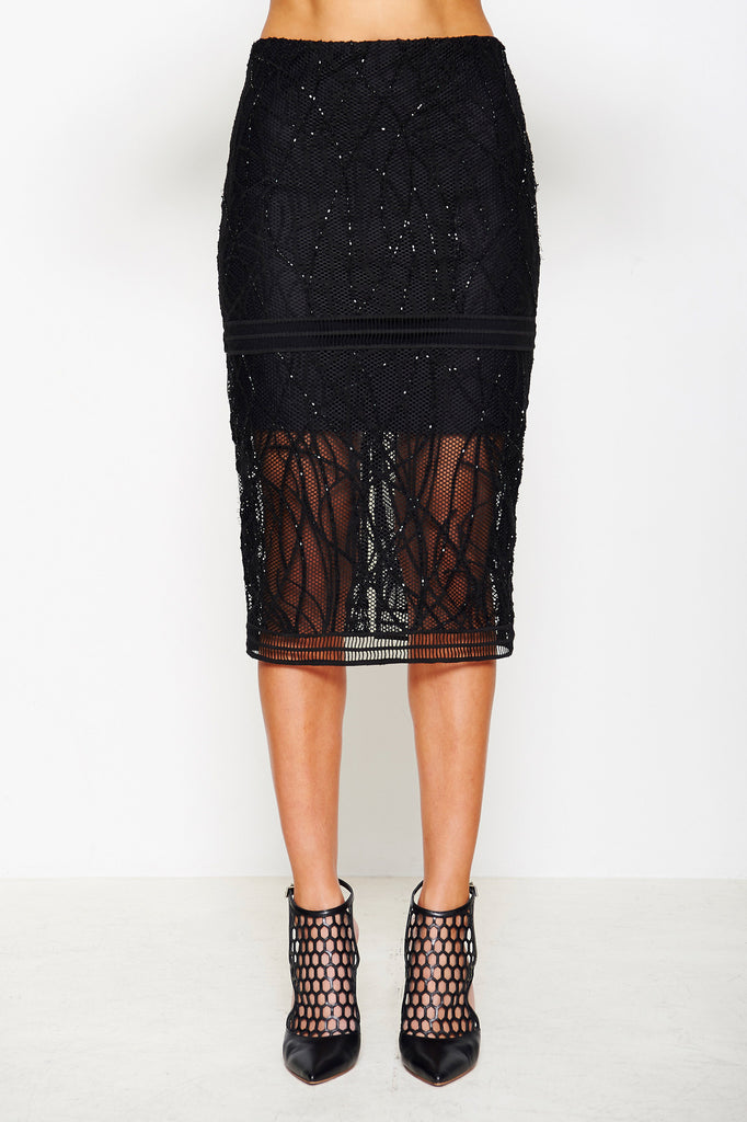 EMBROIDERED MESH SKIRT