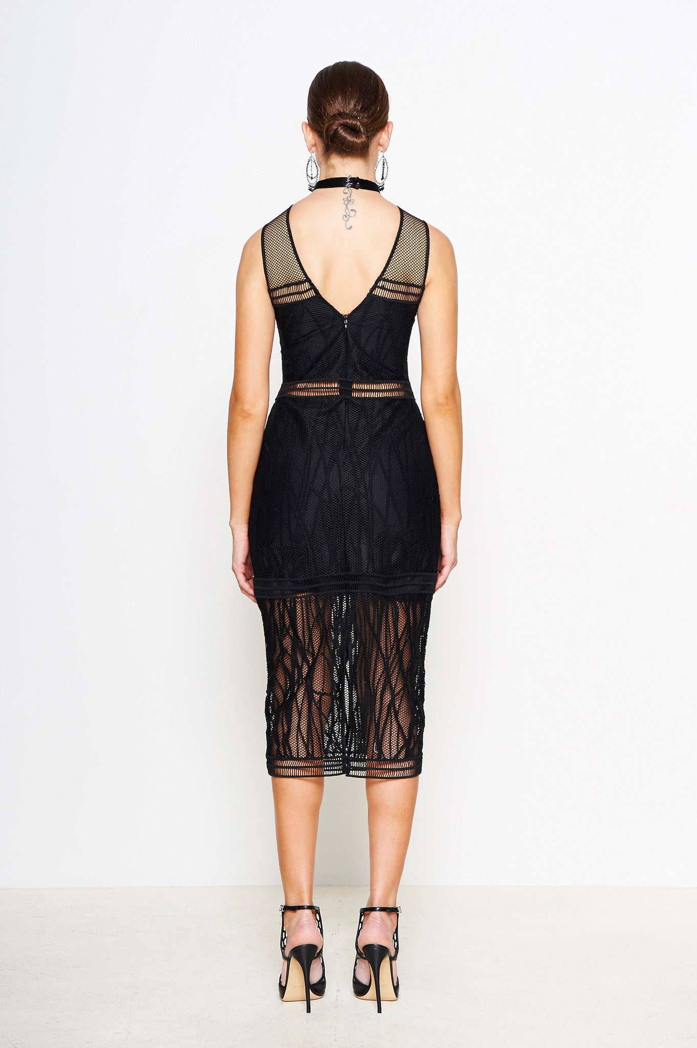 EMBROIDERED BEADED MESH DRESS