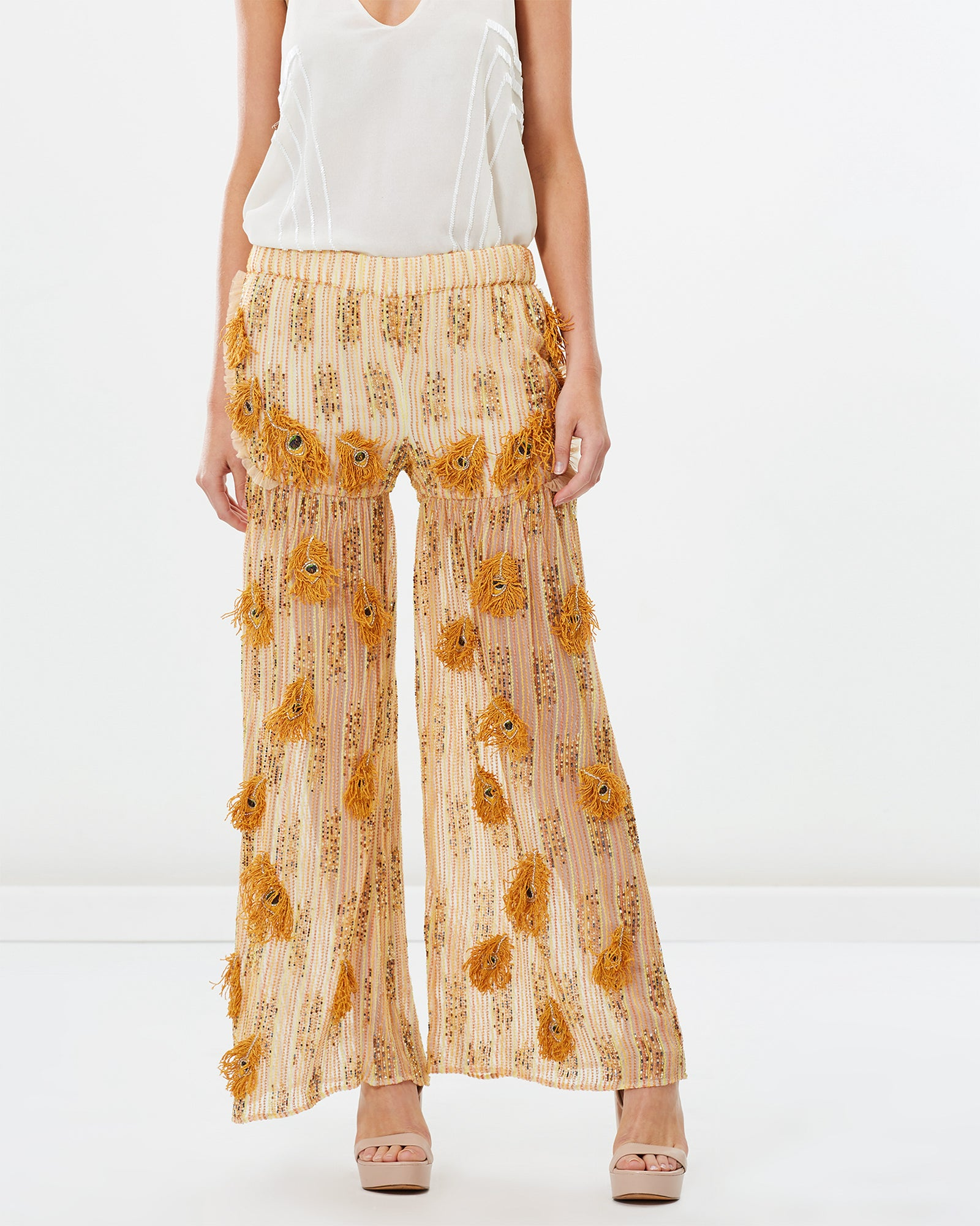 EMBROIDERED BEADED PEACOCK PATCHWORK PANTS