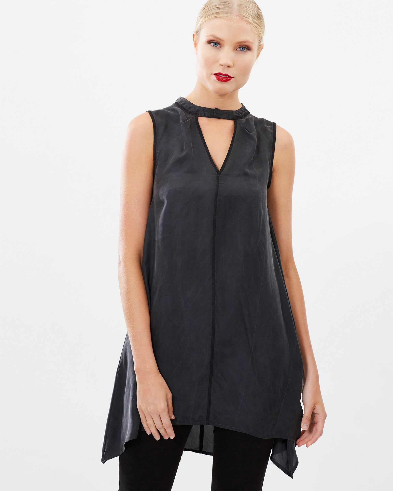 SLEEVELESS A-LINE SANDWASHED SILK TOP