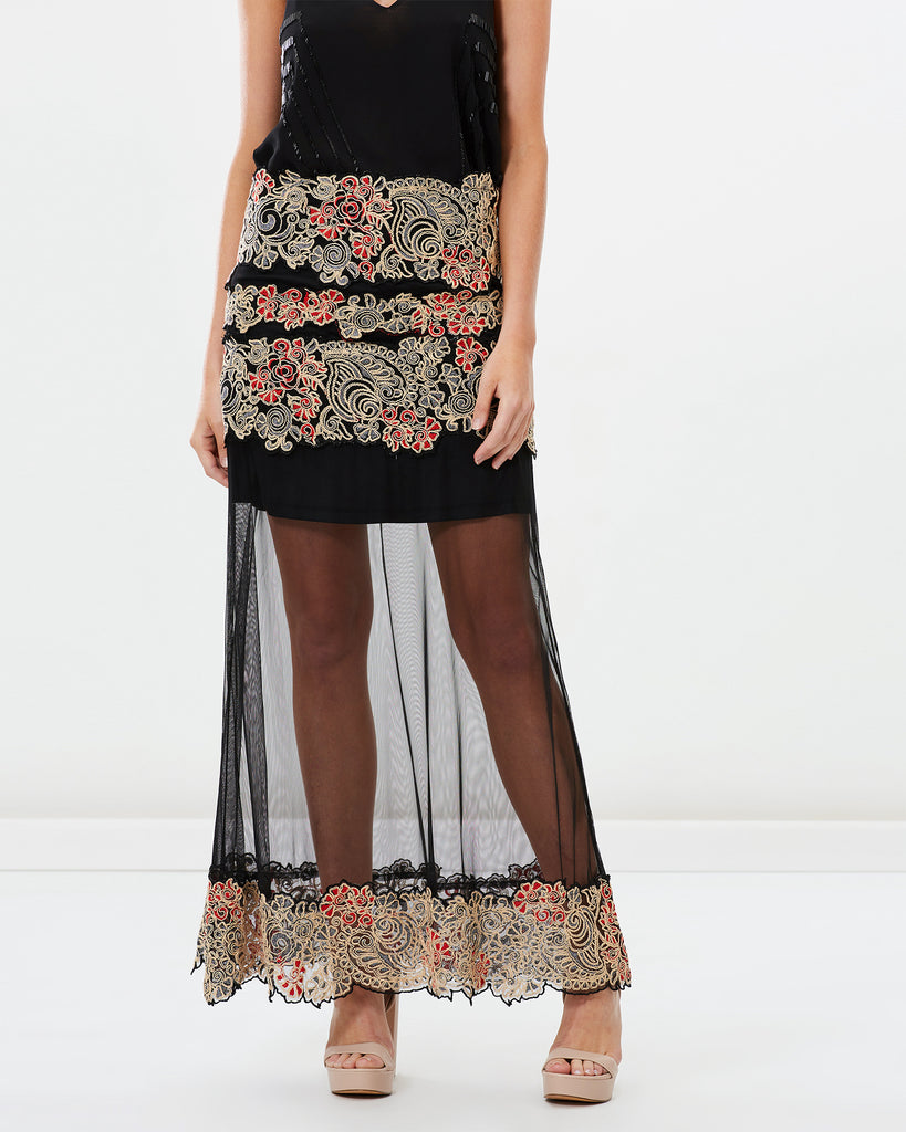 SPANISH CARNATION EMBROIDERED MAXI SKIRT
