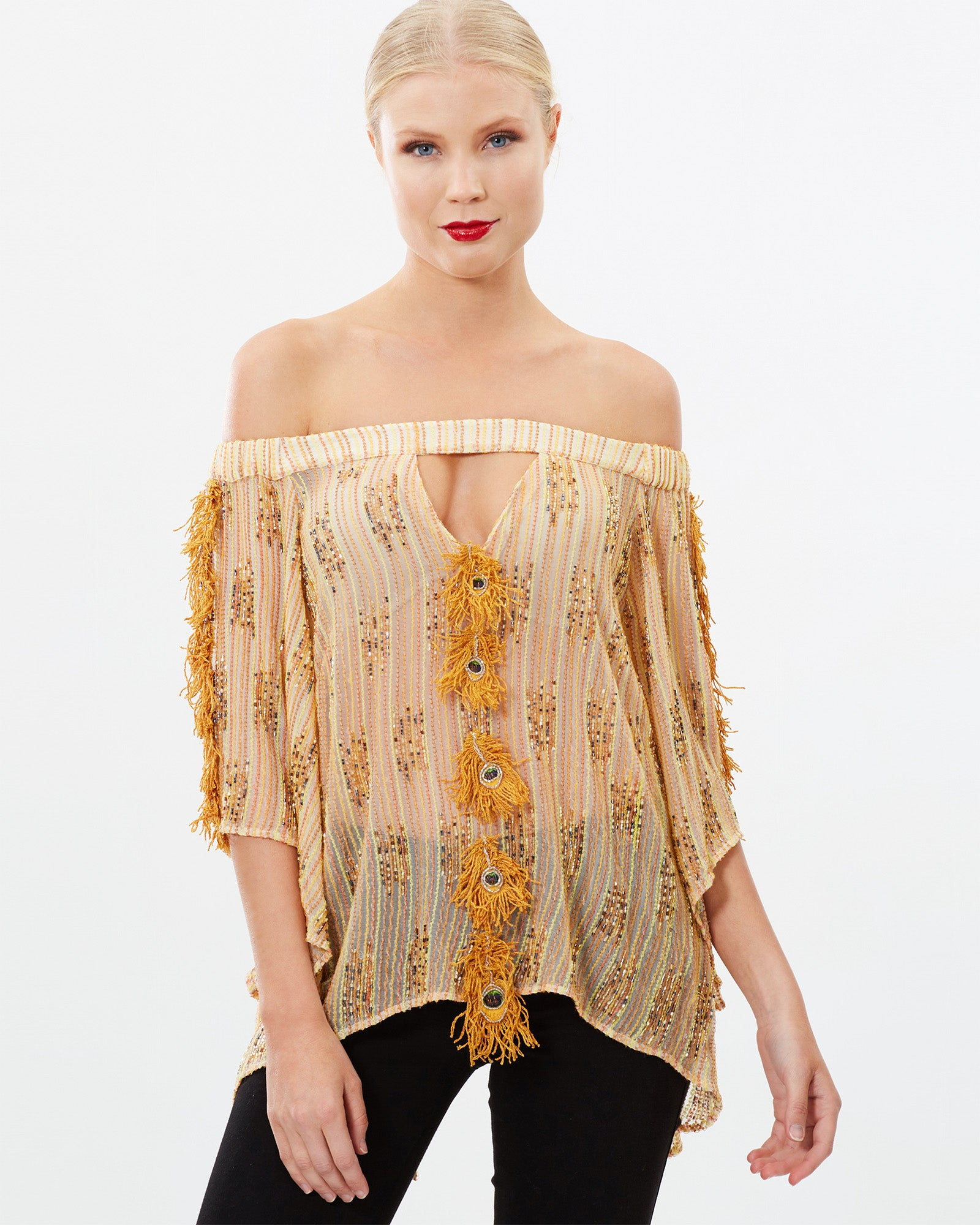 EMBROIDERED BEADED PEACOCK PATCHWORK OFF SHOULDER TOP