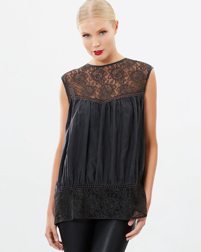 SLEEVELESS LACE SANDWASHED SILK TOP