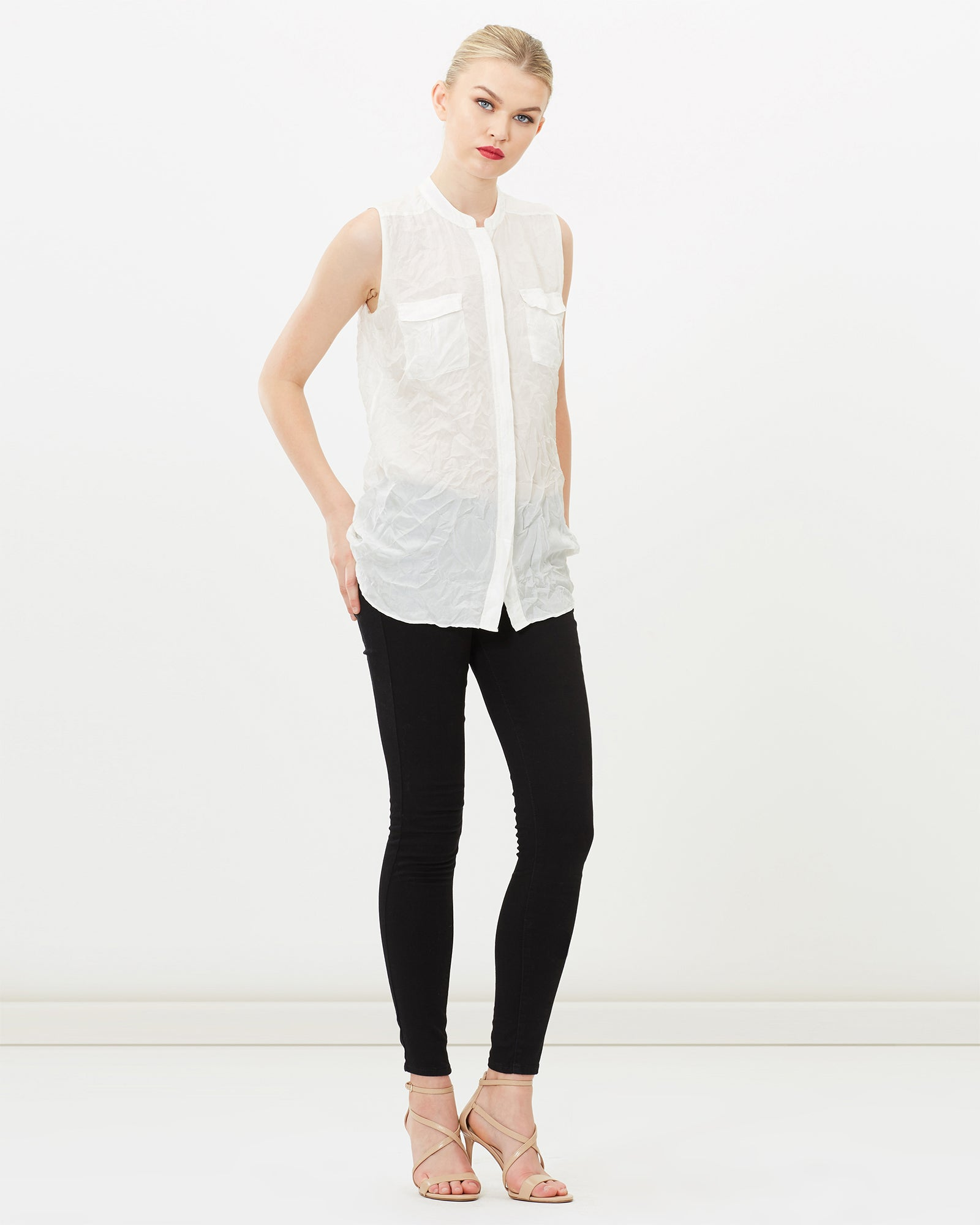 SILK CRINKLED SLEEVELESS MANDARIN COLLAR SHIRT