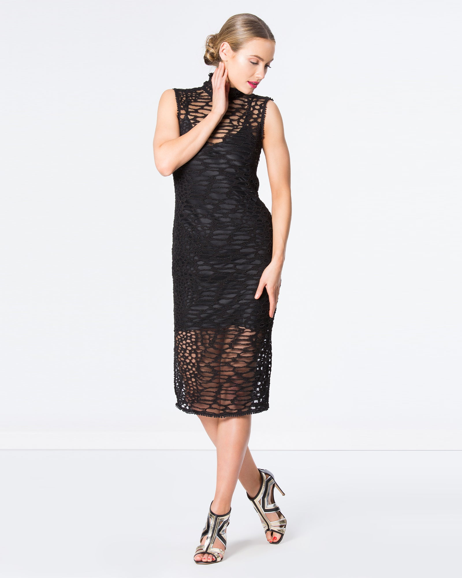 EMBROIDERED BEADED LEOPARD LACE DRESS