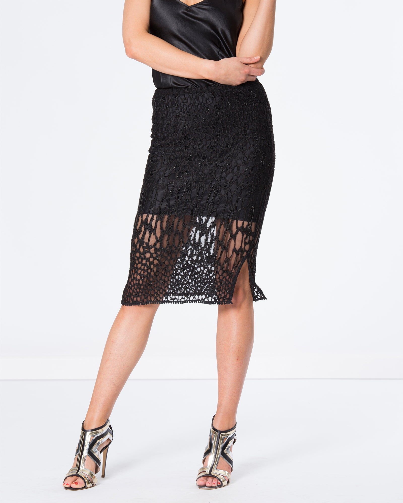 EMBROIDERED BEADED LEOPARD LACE SKIRT