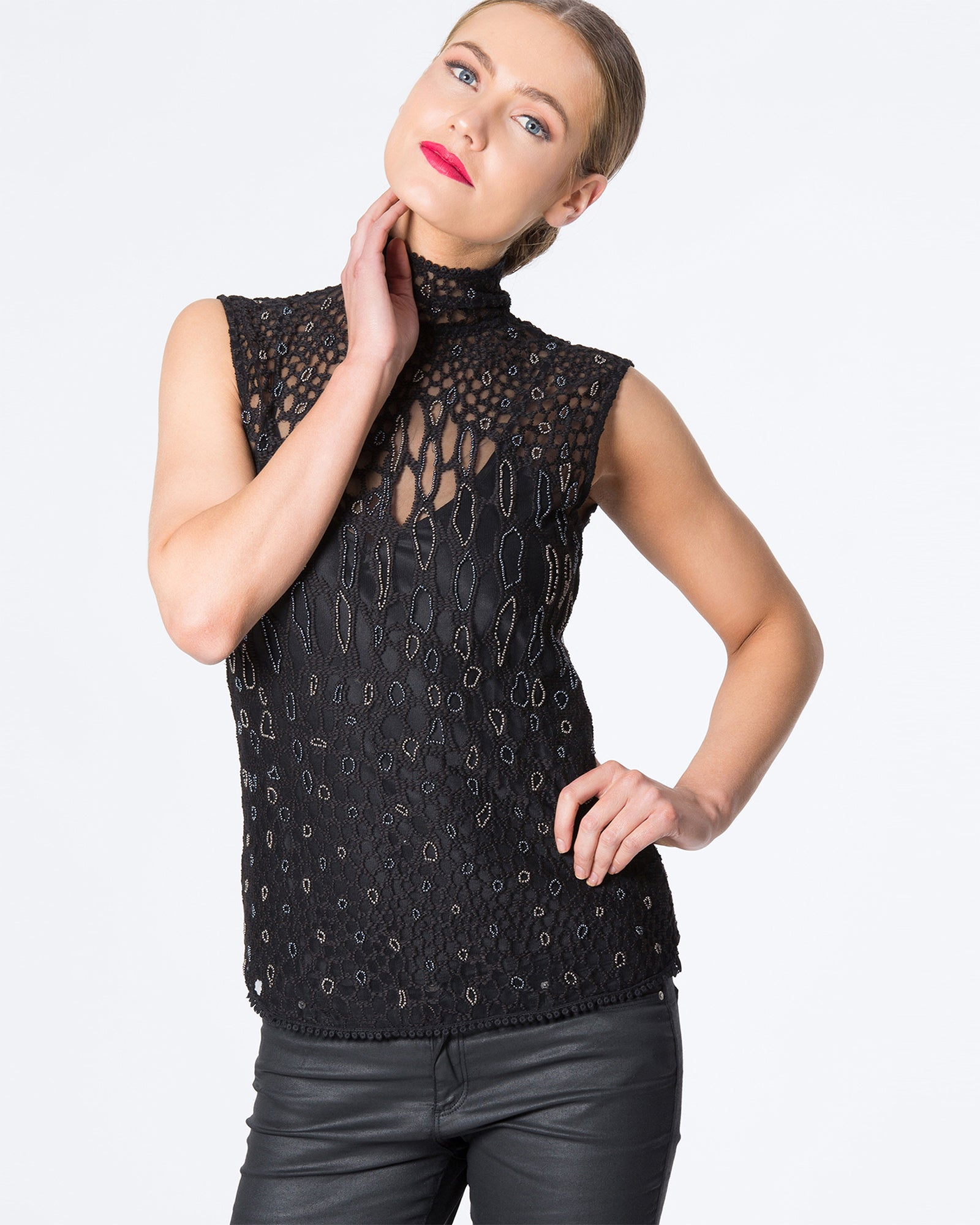 EMBROIDERED BEADED LEOPARD PRINT TOP