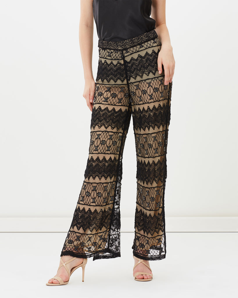 BEADED LACE FLARE PANTS