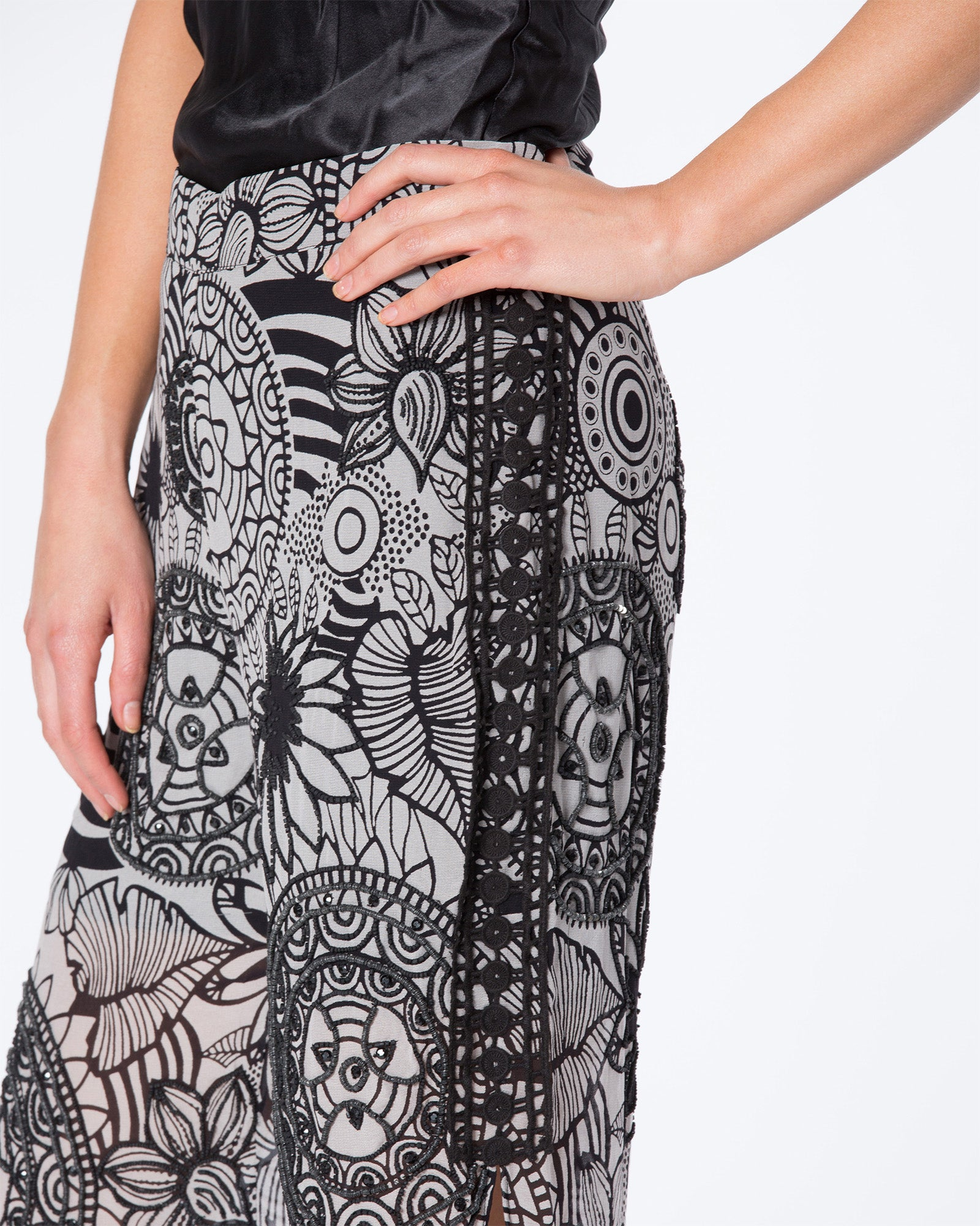 MANDELA PRINTED BEADED FLARE PANTS