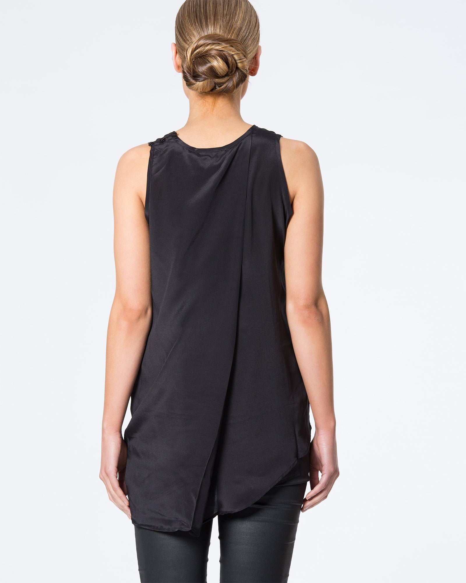BACK DRAPED SILK TOP