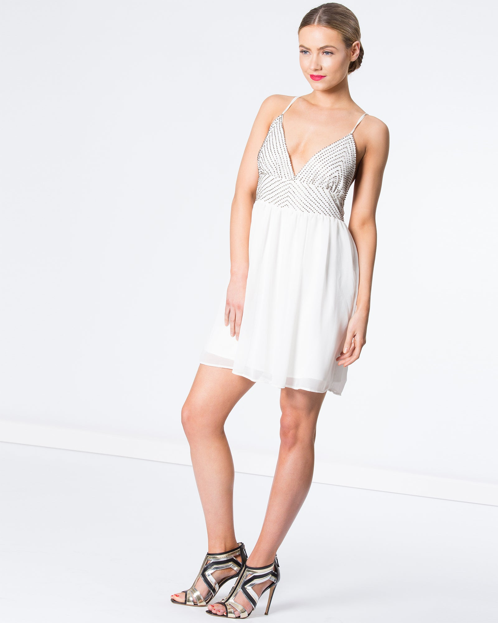 DOUBLE STRAP BEADED MINI DRESS
