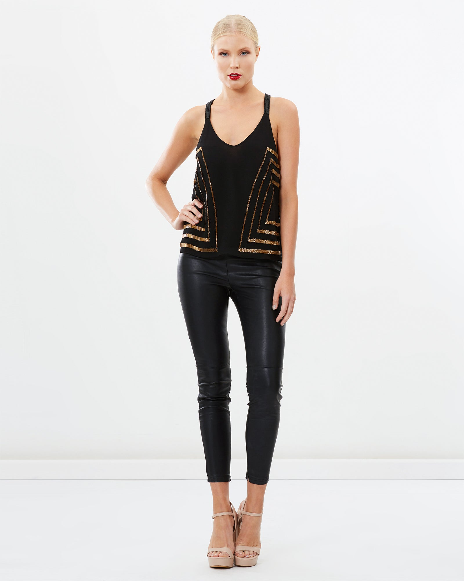 V-NECK BEADED TOP