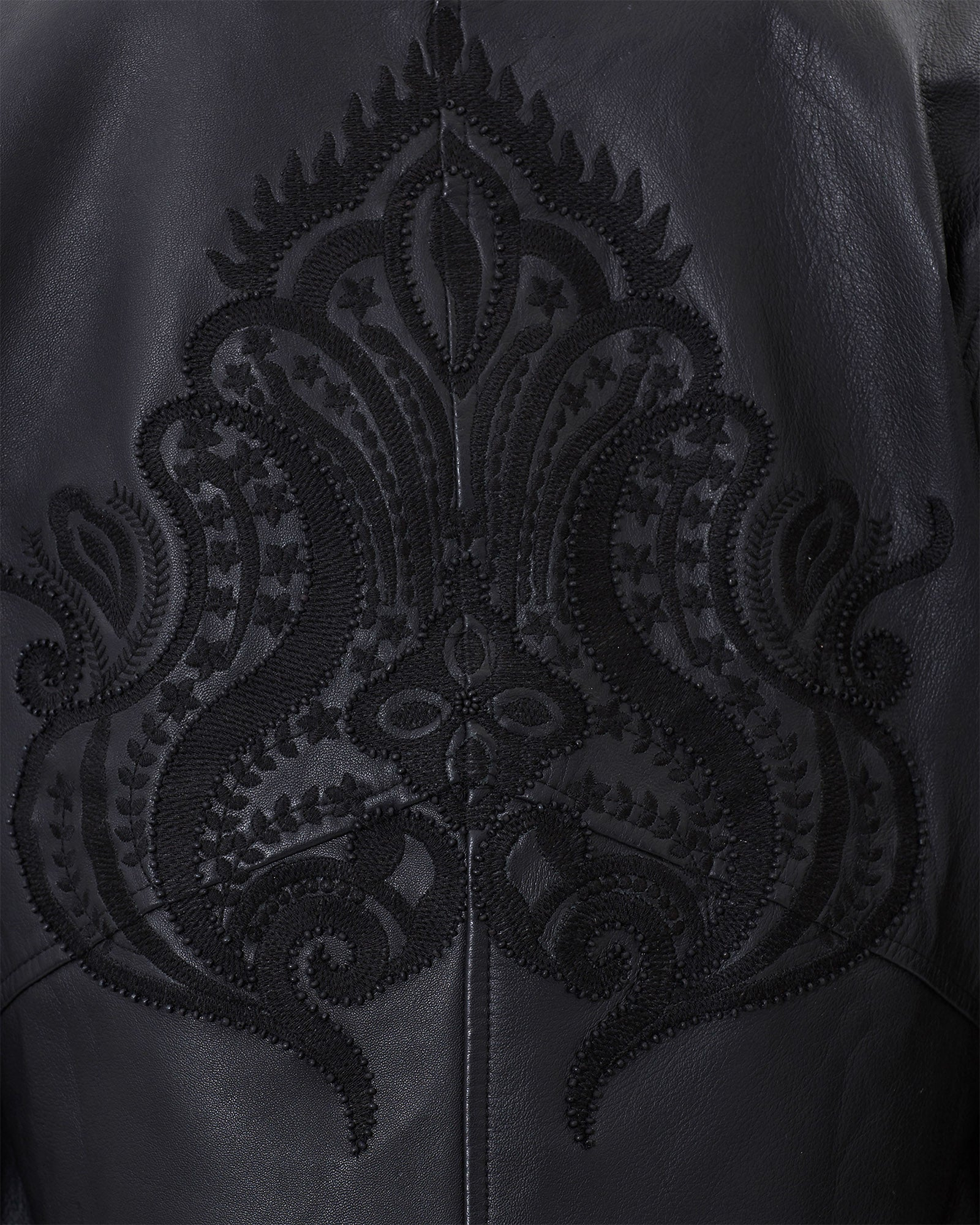 THE BEADED SLEEVE MOTOTCYCLE LEATHER JACKET