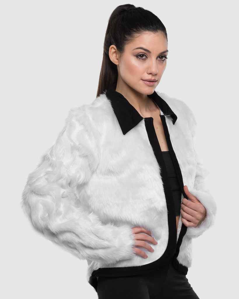 THE WHITE SLEEVE BEADED FAUX FUR JACKET