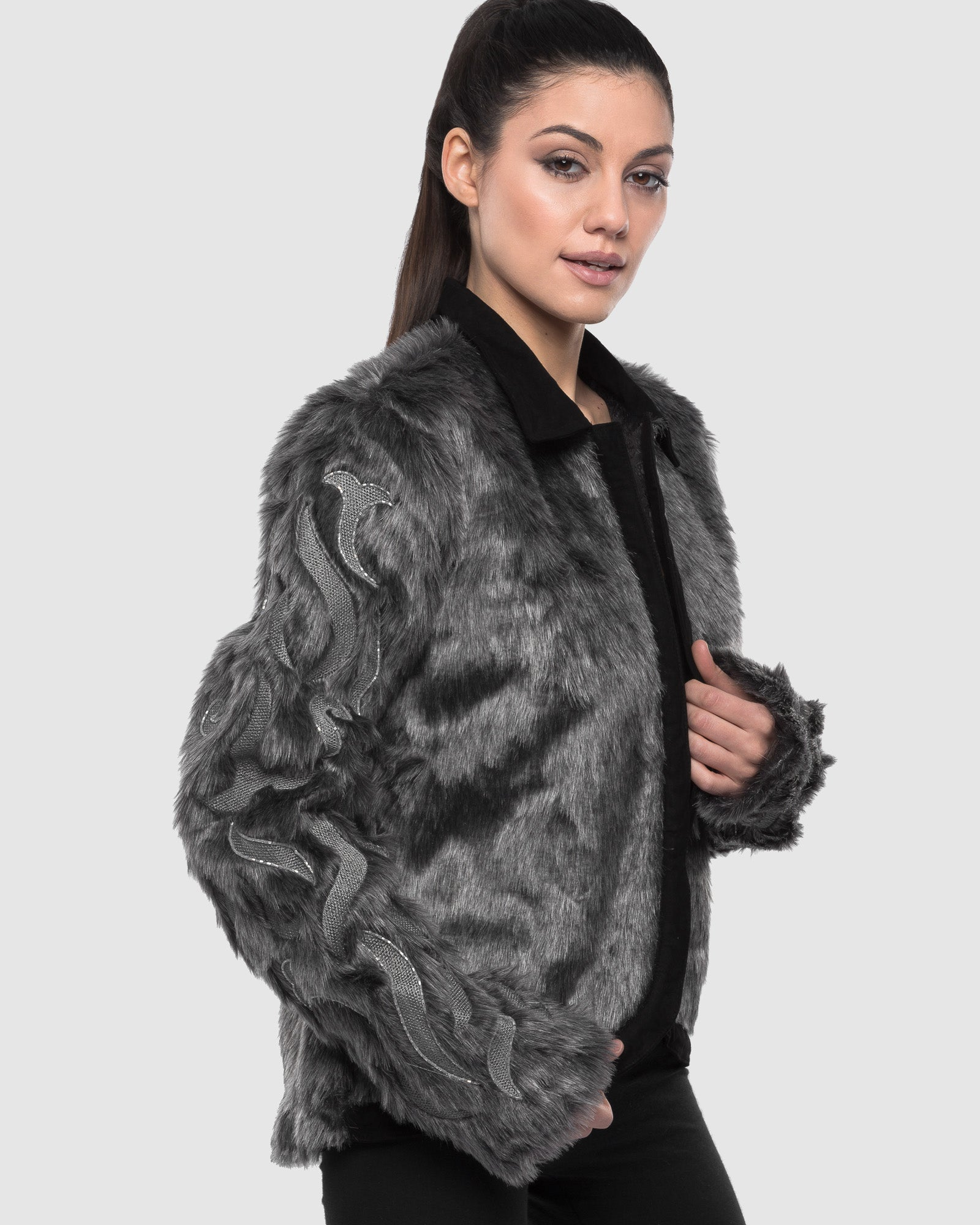 THE GREY SLEEVE EMBROIDERED FAUX FUR JACKET