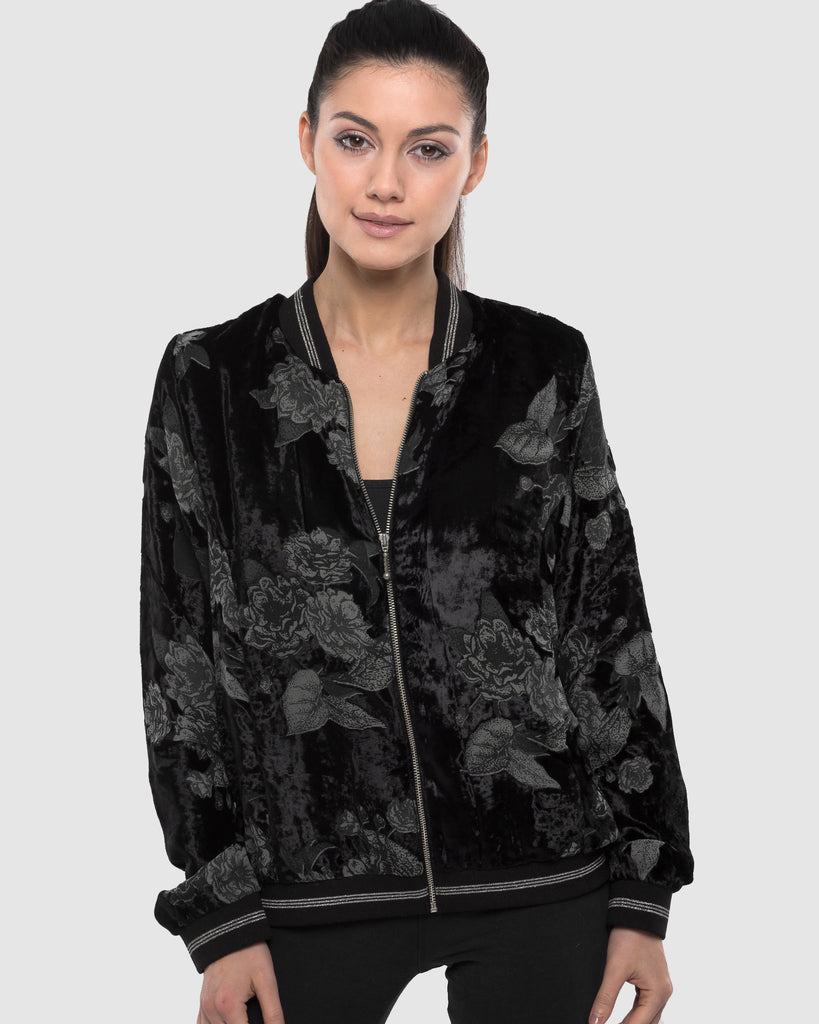 BURNT OUT VELVET BOMBER JACKET