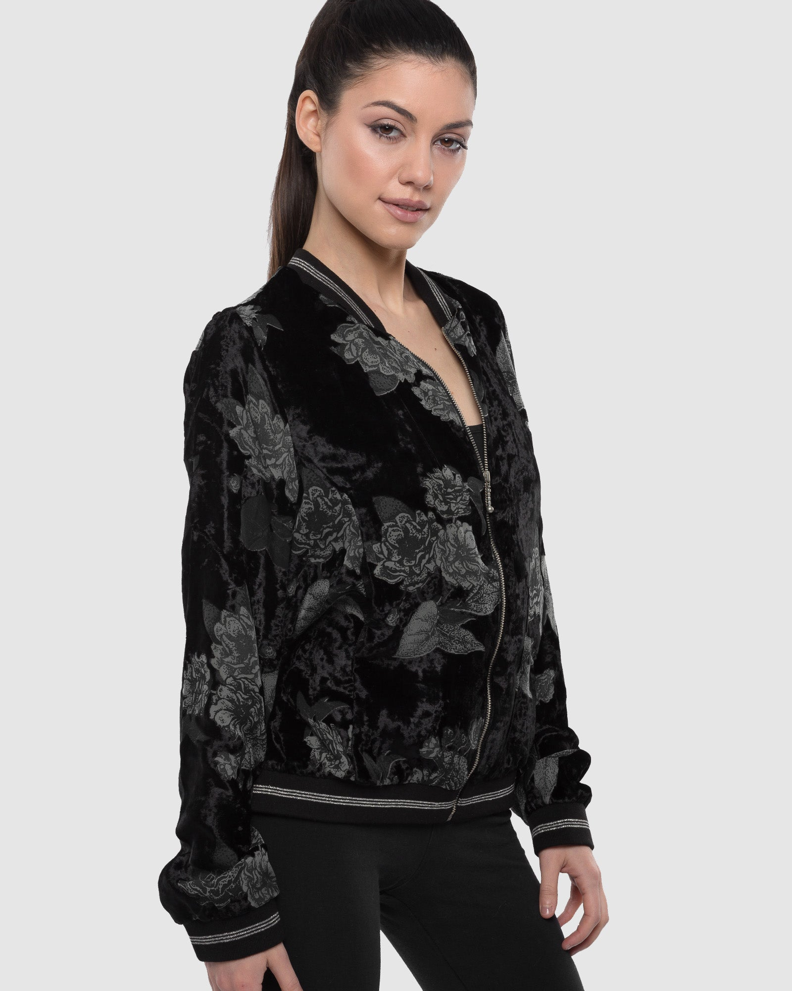 BLACK BURNT OUT VELVET BOMBER JACKET