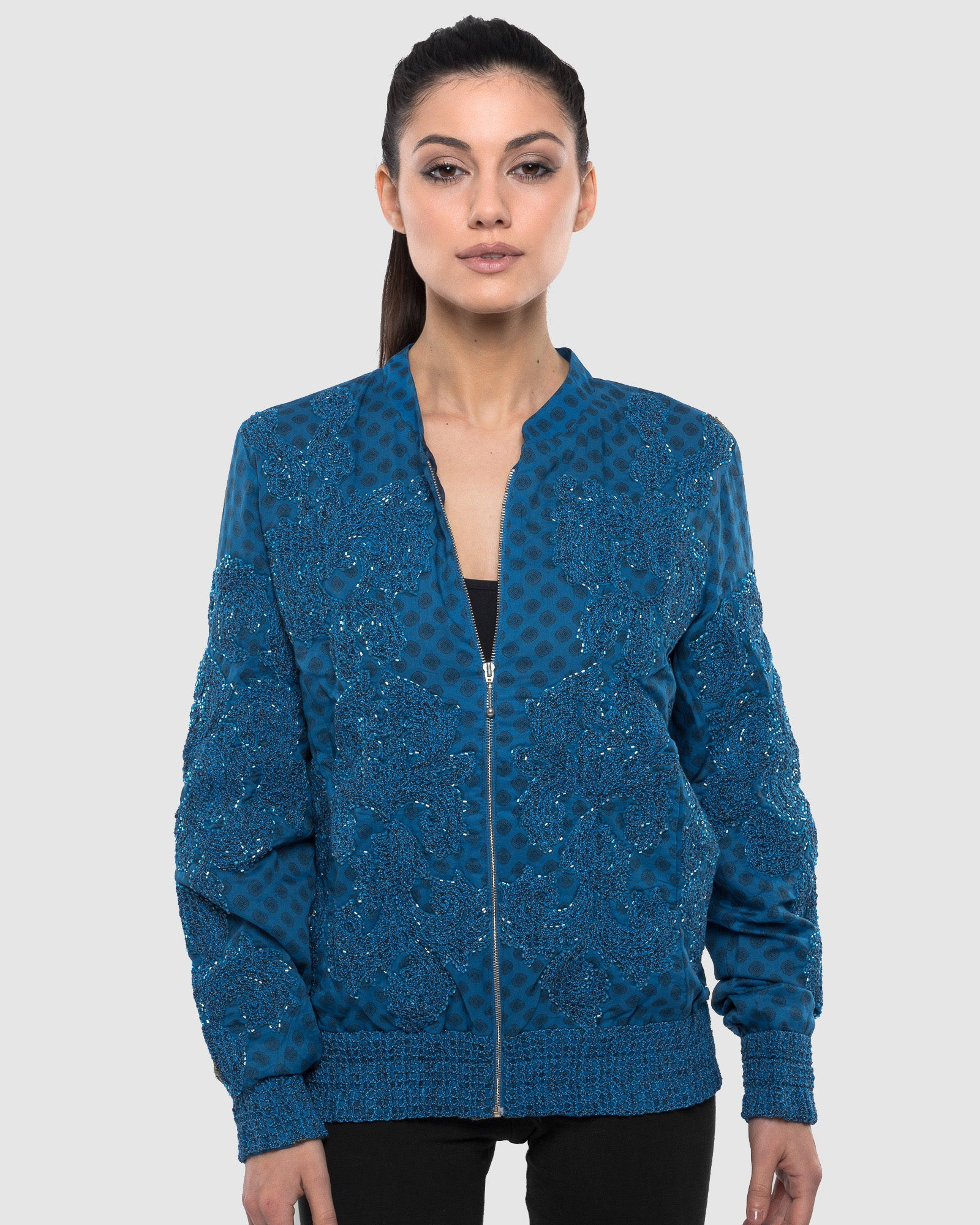 BLUE EMBROIDERED AND BEADED PRINTED BOMBER JACKET