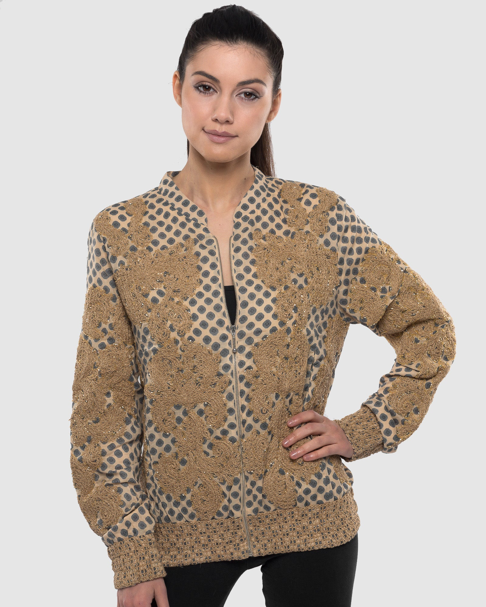 BEIGE EMBROIDERED AND BEADED PRINTED BOMBER JACKET