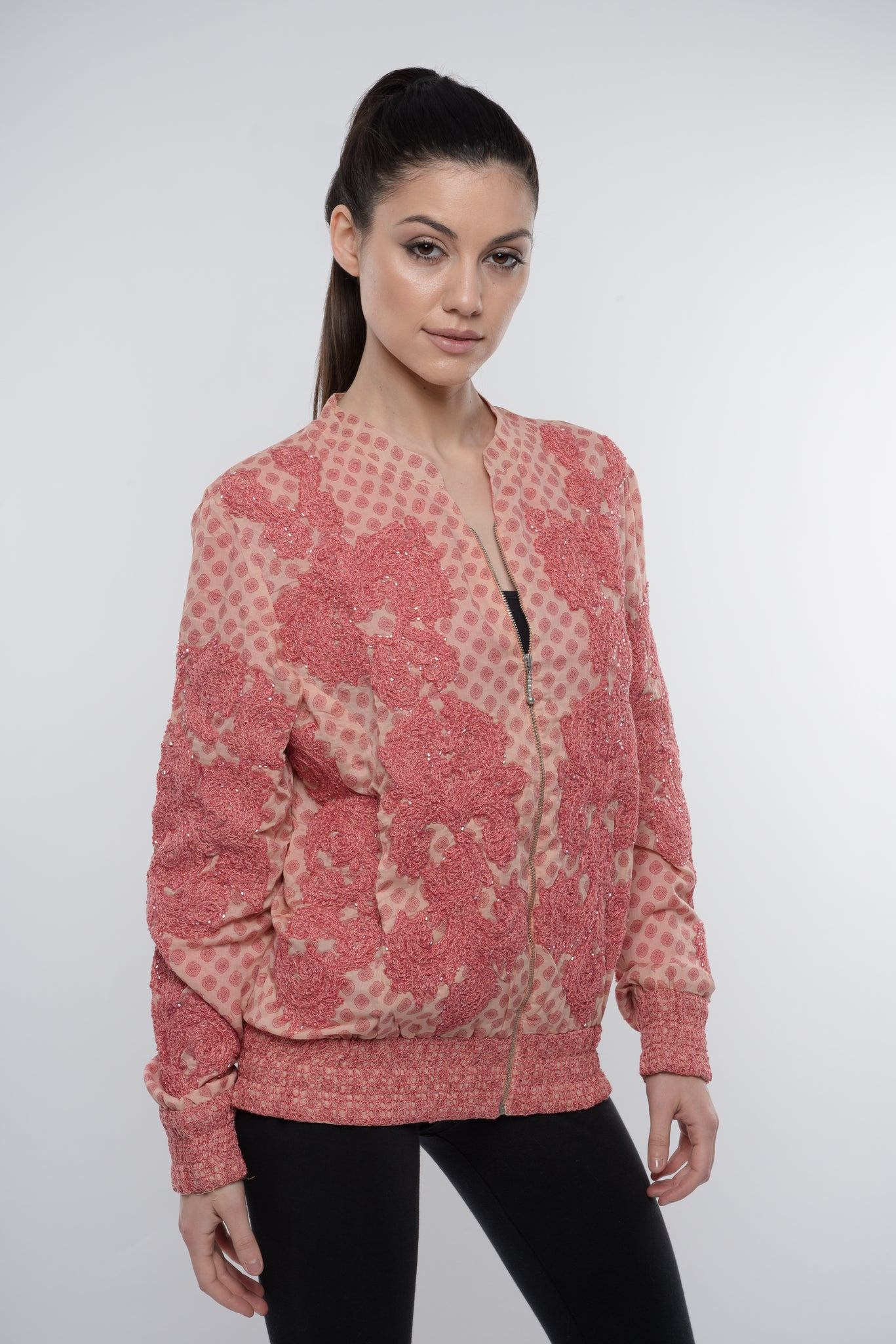 CORAL EMBROIDERED BEADED  PRINT BOMBER JACKET