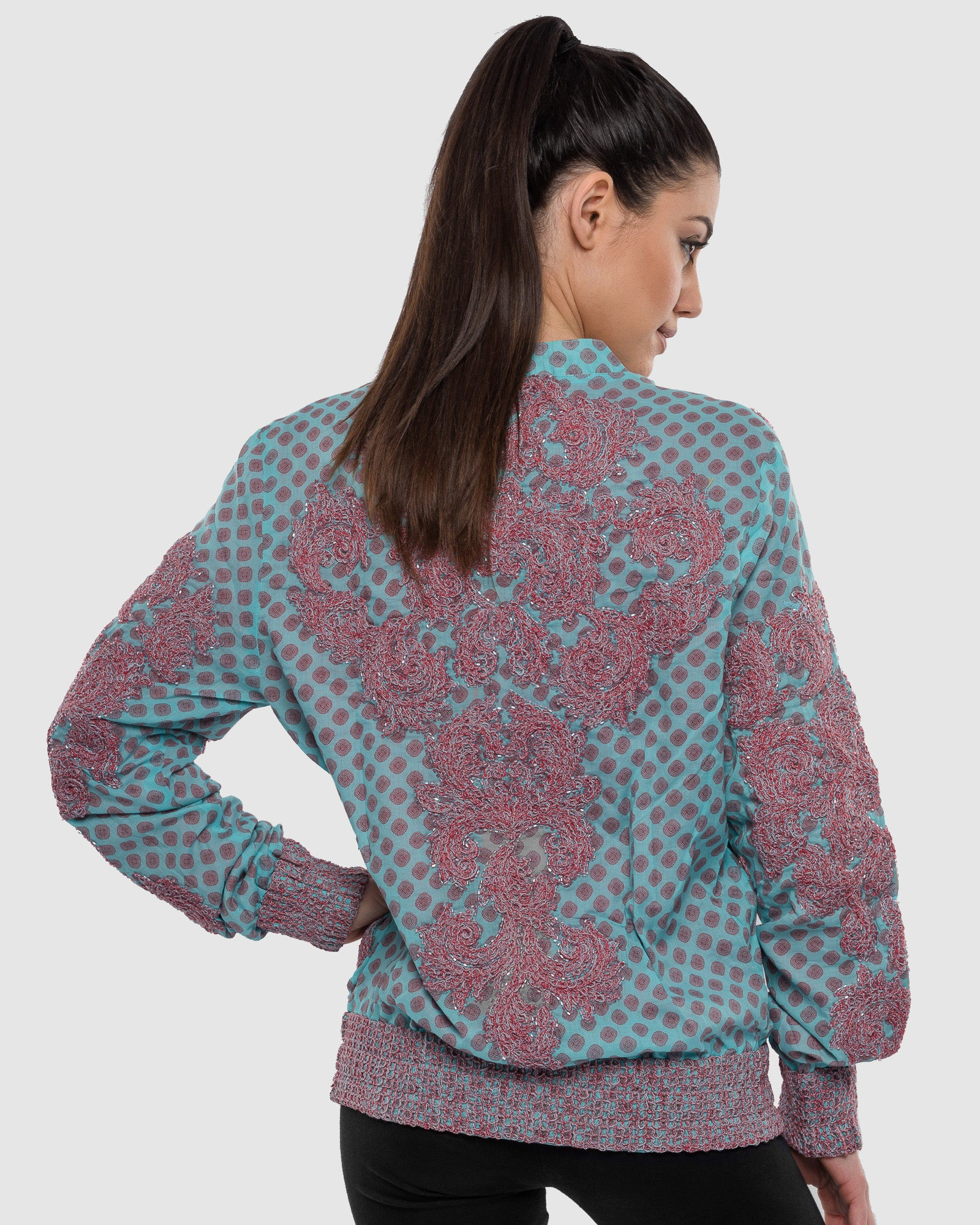 AQUA EMBROIDERED AND BEADED PRINTED BOMBER JACKET