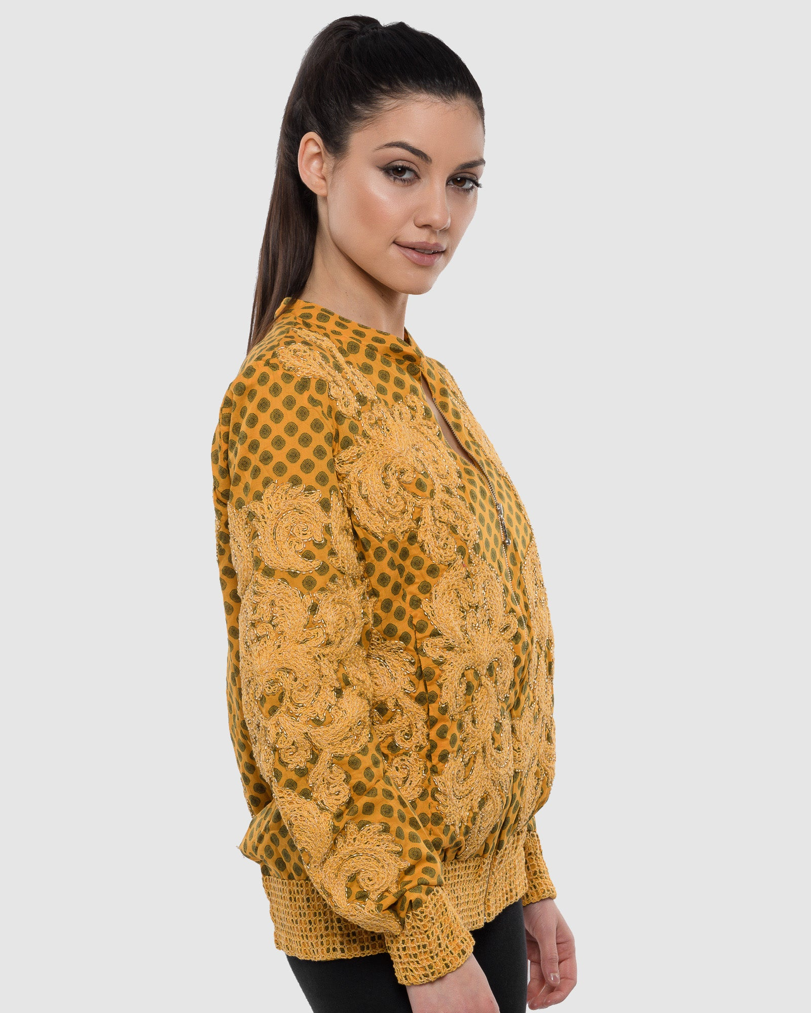 YELLOW EMBROIDERED AND BEADED PRINTED BOMBER JACKET