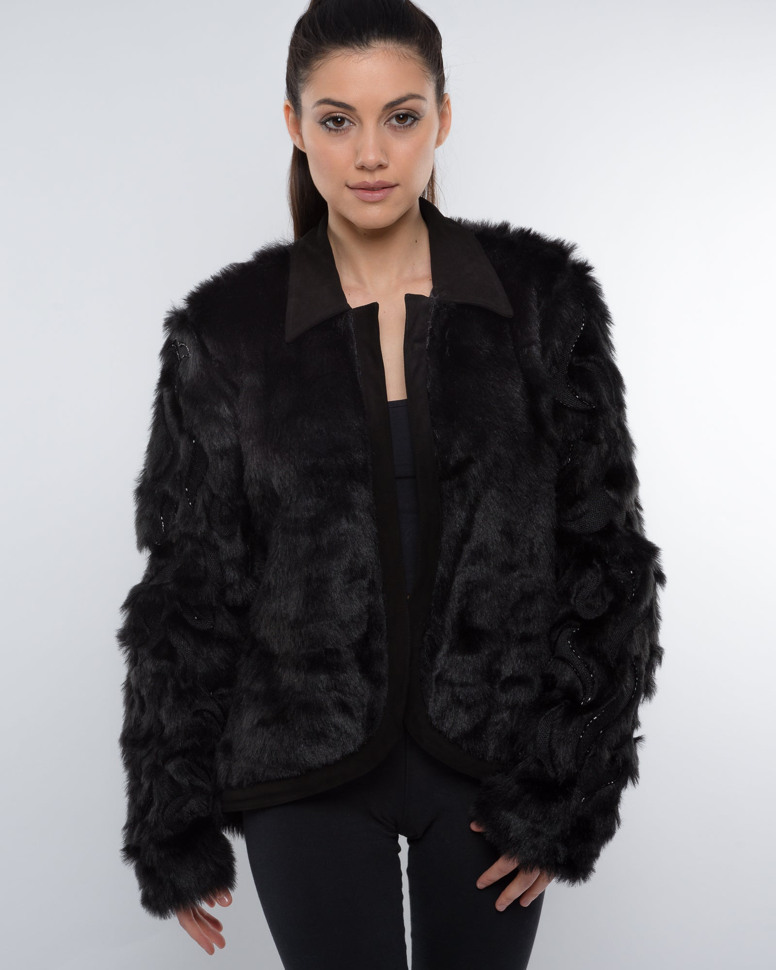 THE BLACK SLEEVE EMBROIDERED AND BEADED FAUX FUR JACKET