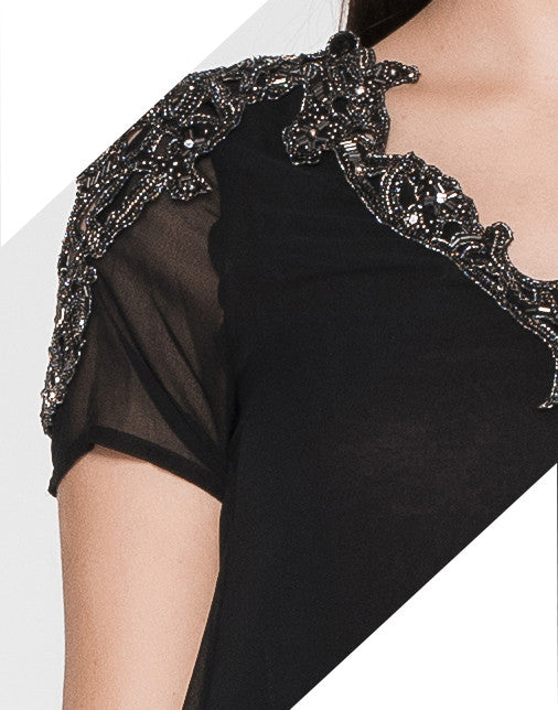 BEADED CUT SHOULDER TOP