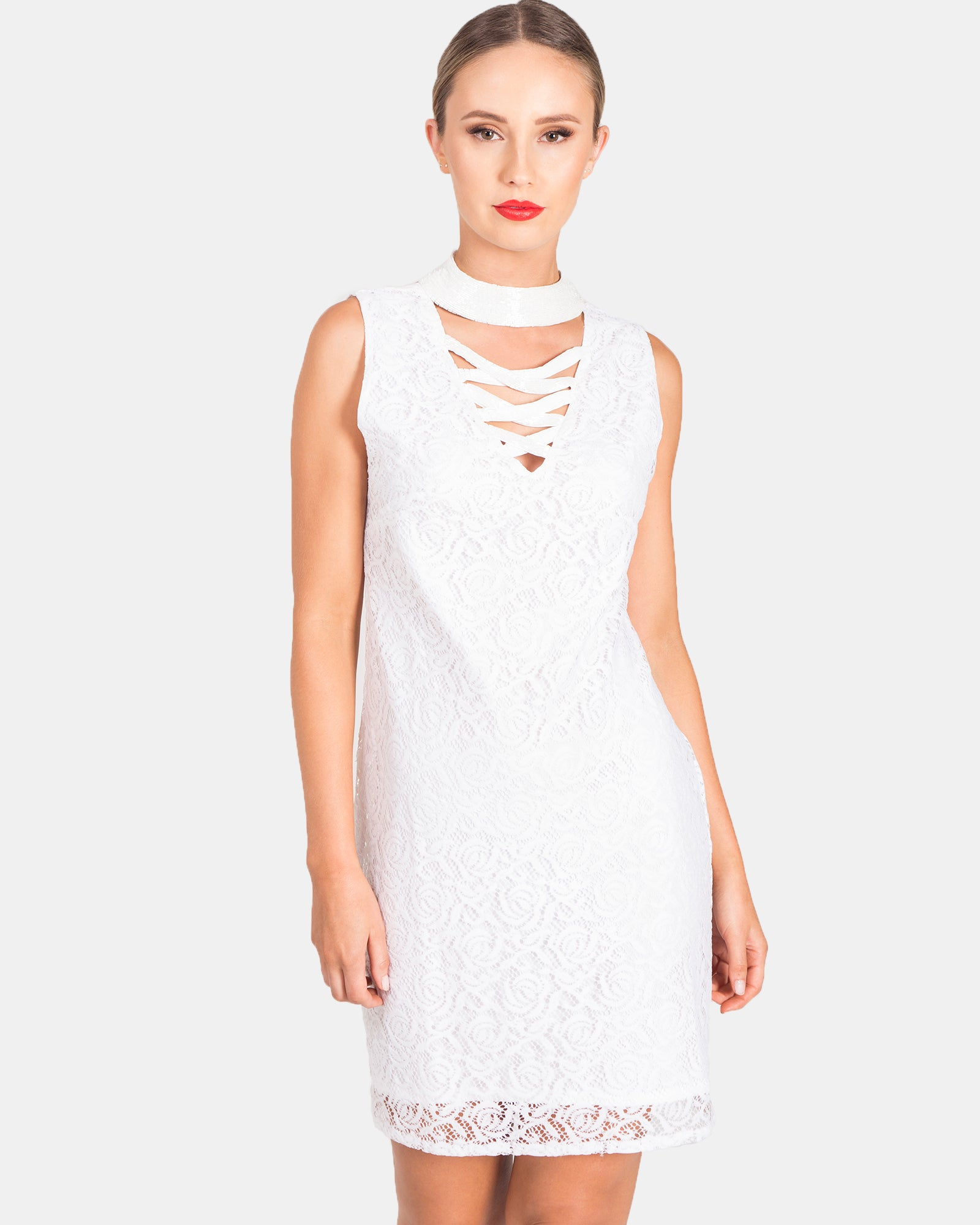 BEADED CHOKER LACE DRESS