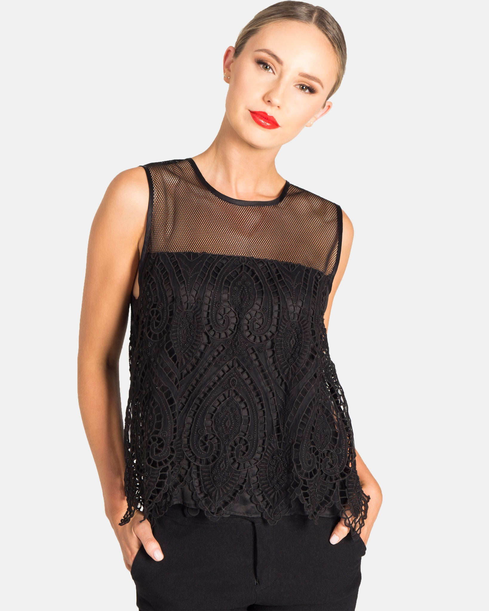 BEADED EMBROIDERED CUT OUT PAISLEY TOP