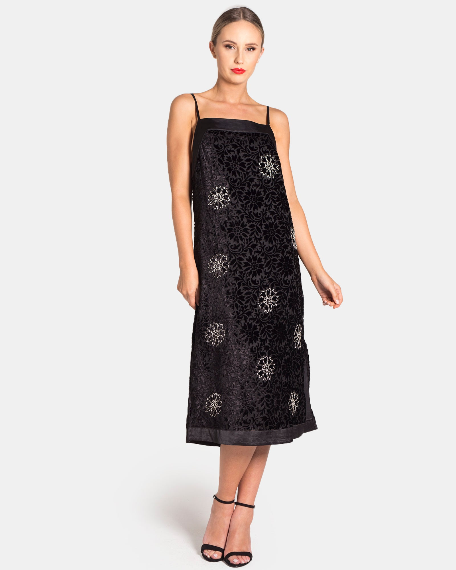 BEADED BURNT OUT VELVET BEADED DRESS