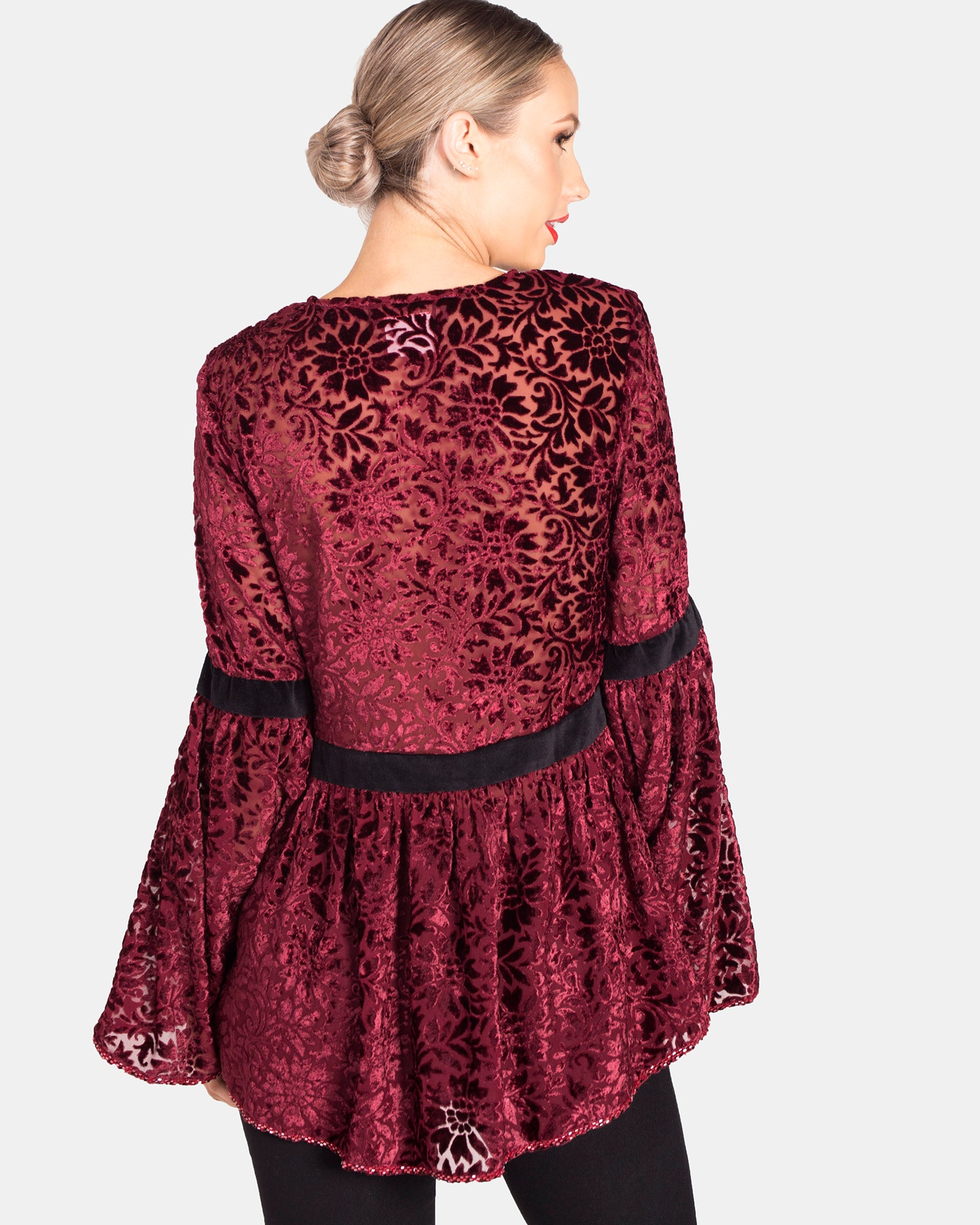 BEADED BURNT OUT VELVET BELL SLEEVE TOP