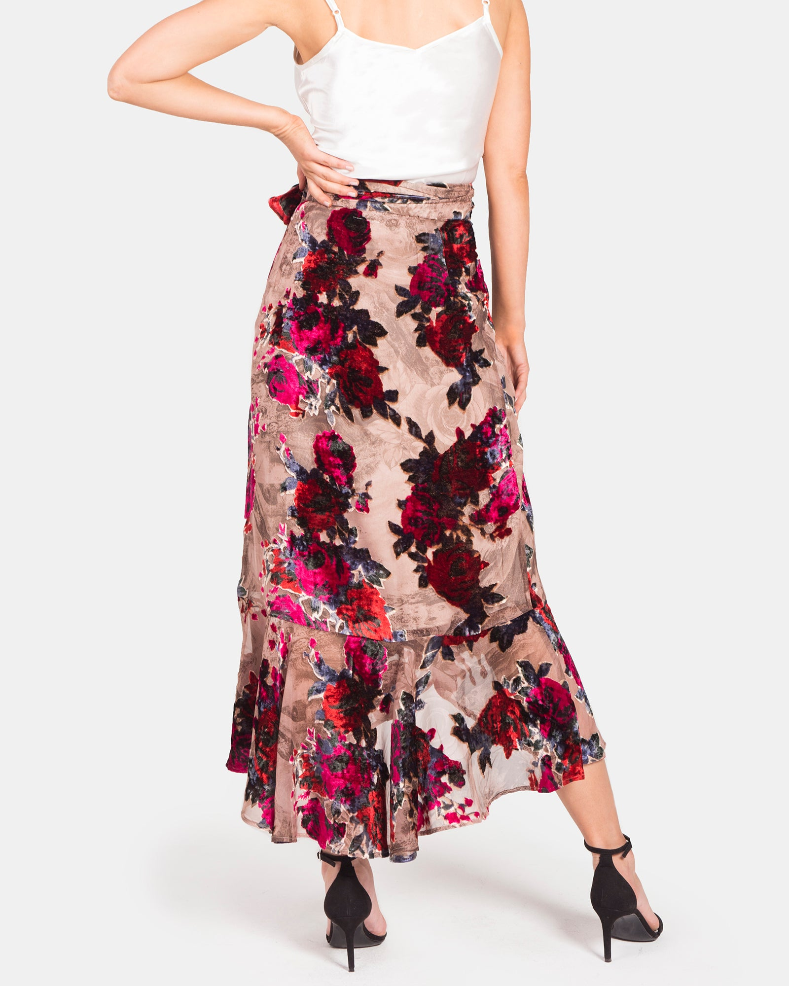 PRINTED FLORAL VELOUR WRAP SKIRT