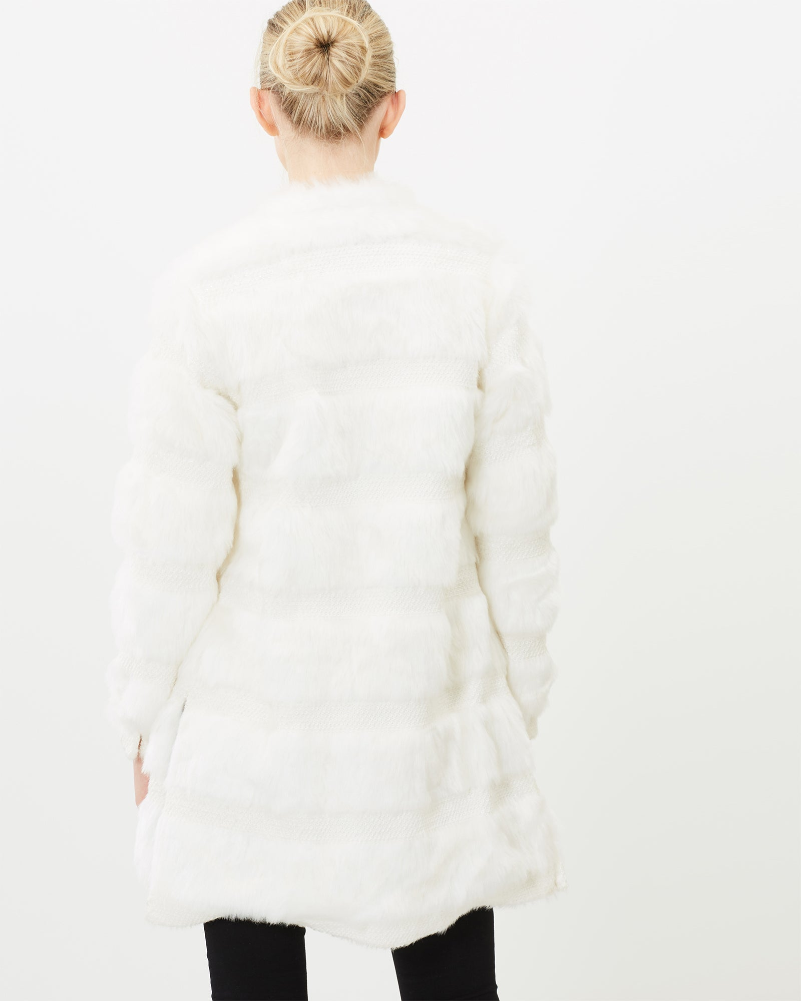 WHITE SEQUIN FAUX FUR COAT