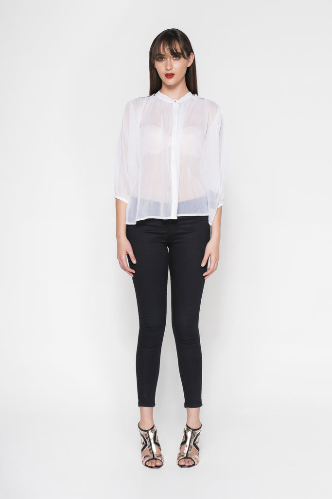 MIXED SHAPE BEADED SHEER SHIRT