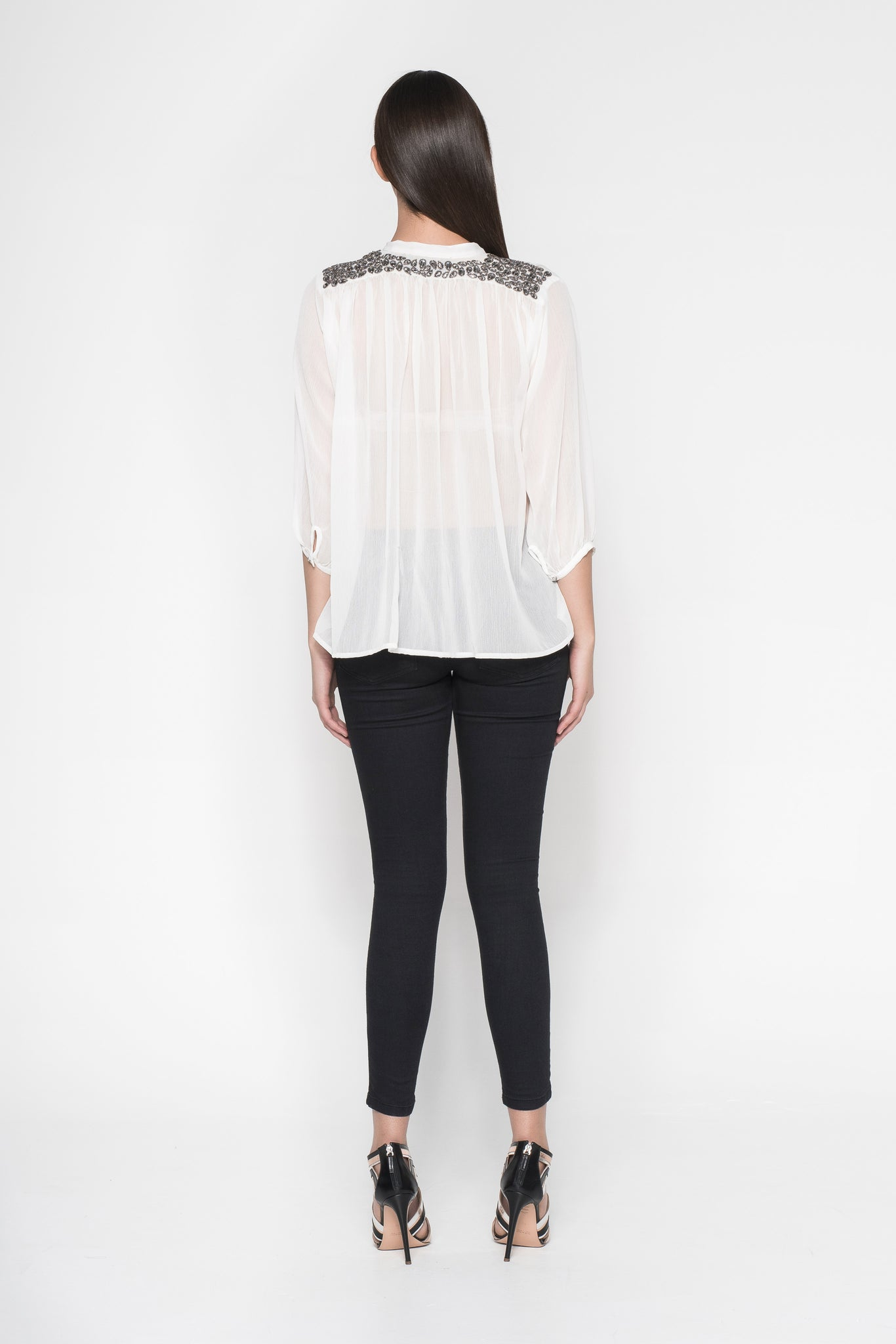 LEAF SHAPED BEADED SHEER SHIRT