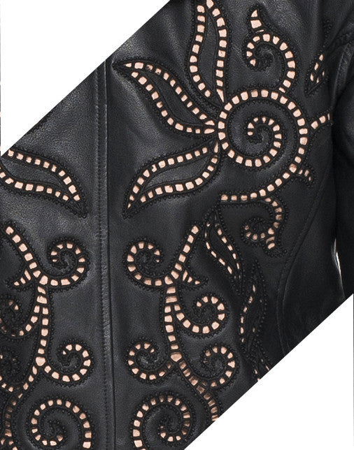 BEADED EMBROIDERED LEATHER JACKET