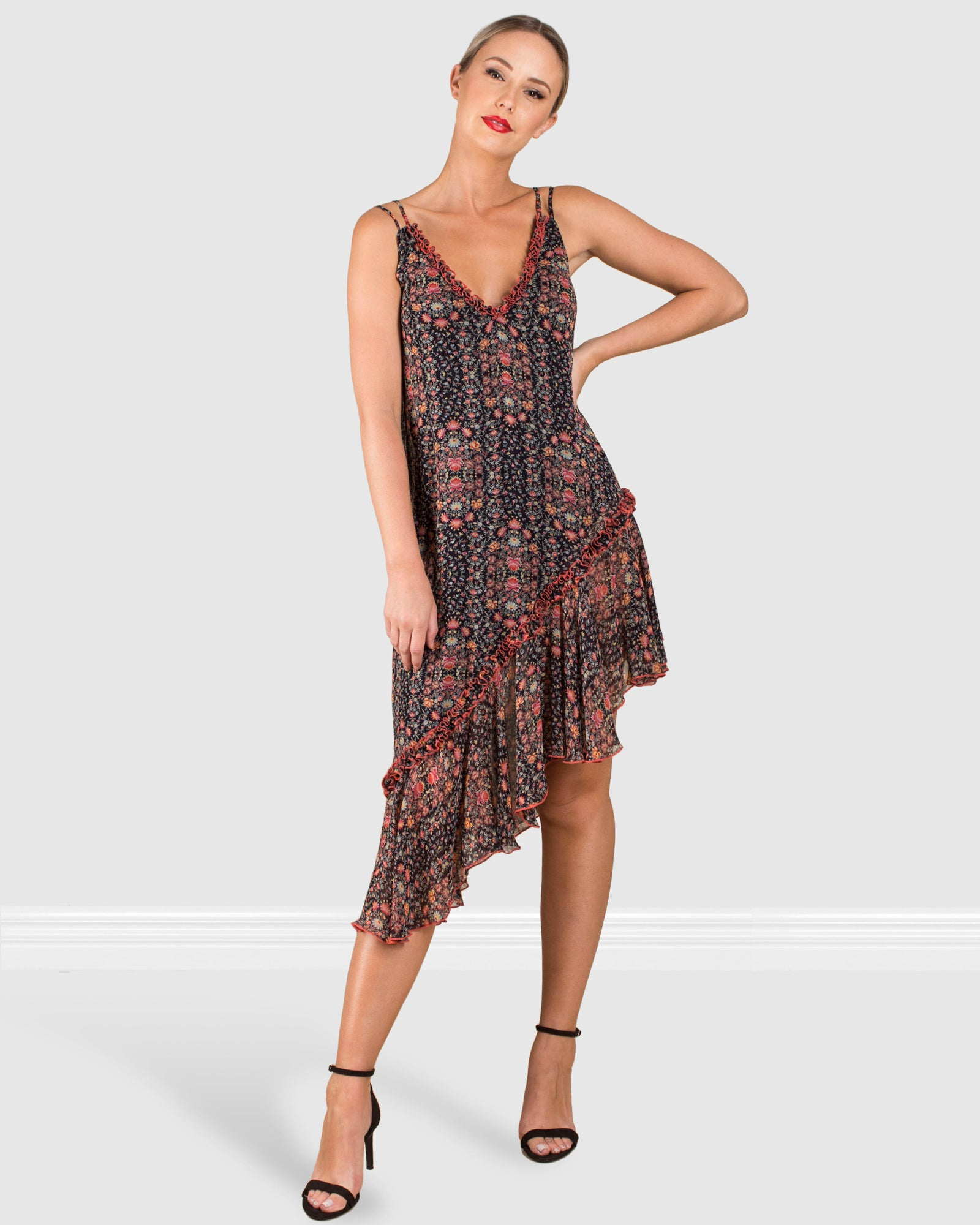 THE DOUBLE STRAP ASYMMETRICAL PRINTED DRESS