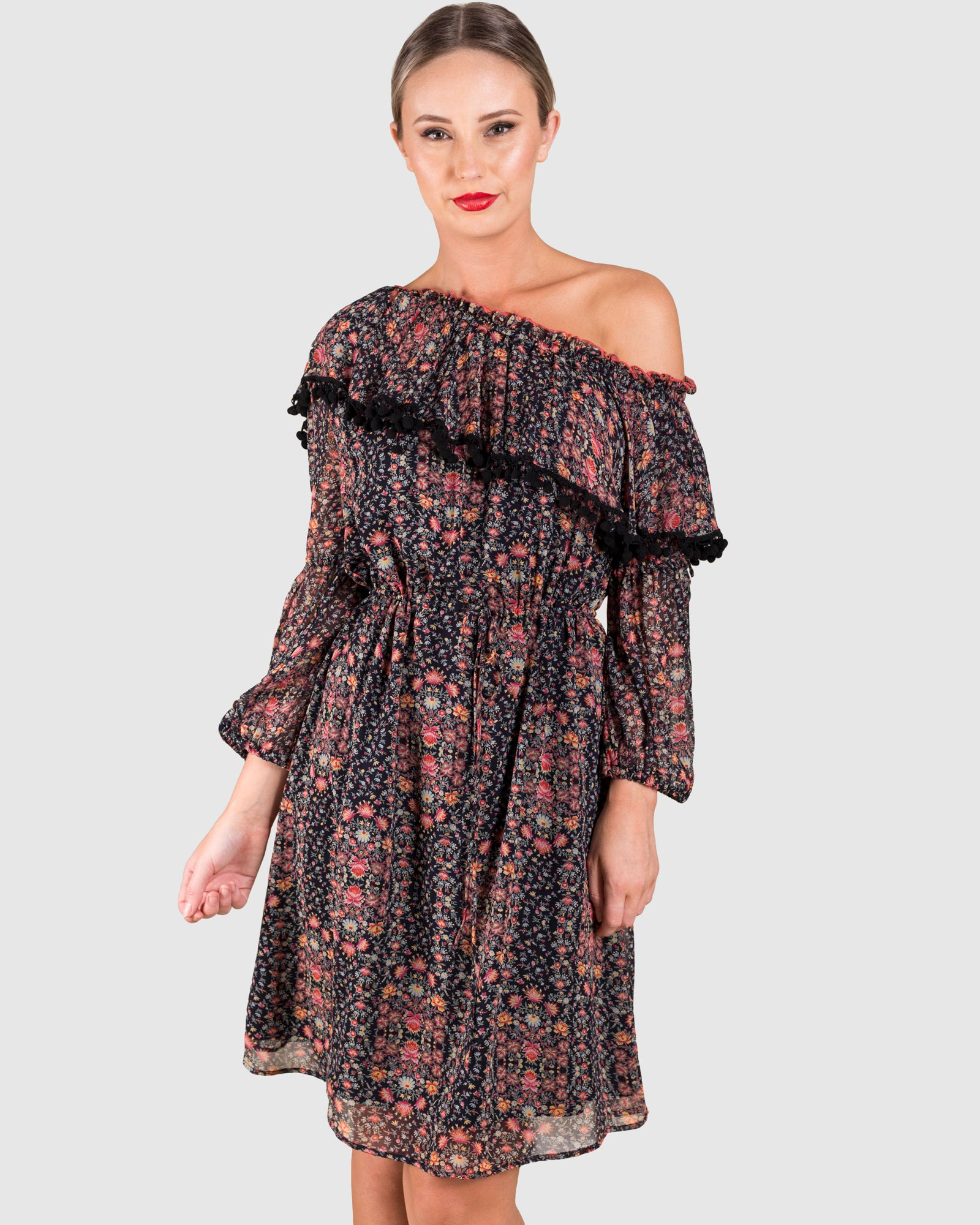 THE PRINTED OFF SHOULDER POM POM DRESS