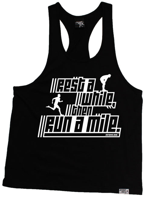 Personal Best Rest A While Then Run A Mile Running Men's Tank Top