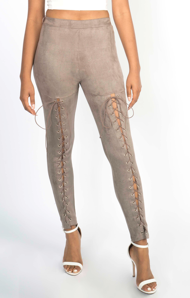 Lush Suede Lace-Up Pants
