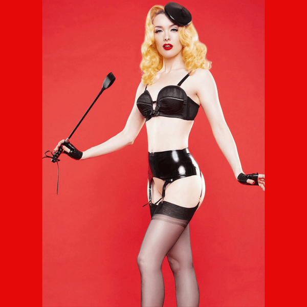 Bettie Page Black latex Mini Beret, Lingerie, Playful Promises - Passionate Jade