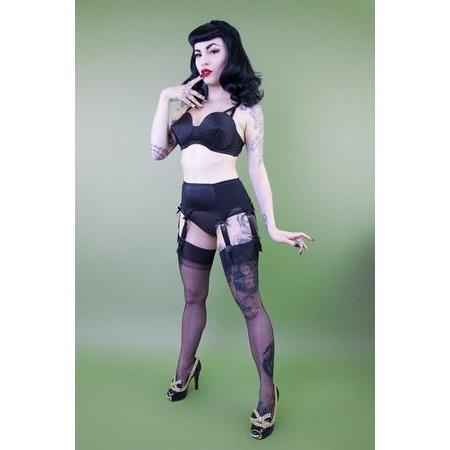 Bettie Page Classic Suspender Belt, Lingerie, Playful Promises - Passionate Jade