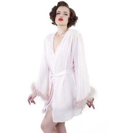 Bettie Page Ostrich Feather Robe, Lingerie, Playful Promises - Passionate Jade