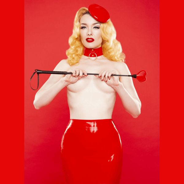 Bettie Page Red Latex Hobble Skirt, Lingerie, Playful Promises - Passionate Jade