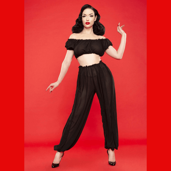 Bettie Page Retro Lounge Trousers, Lingerie, Playful Promises - Passionate Jade