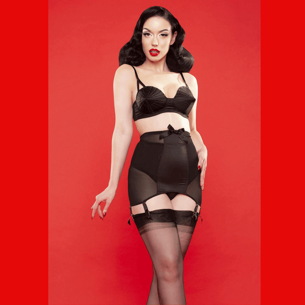 Bettie Page Satin Girdle, Lingerie, Playful Promises - Passionate Jade