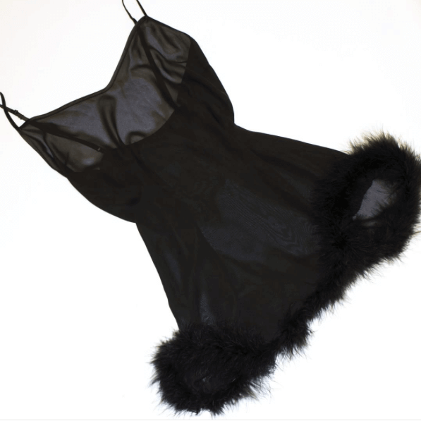 Black Bettie Page Ostrich Feather Chemise, Lingerie, Playful Promises - Passionate Jade